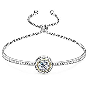 "GEORGE · SMITH Birthday Gifts""Endless Saturn""Classic Design Adjustable Women Bangle Bracelet Crystals from Swarovski, Jewelry for Girlfriend Wife Mom -a Luxury Gift Box Included"