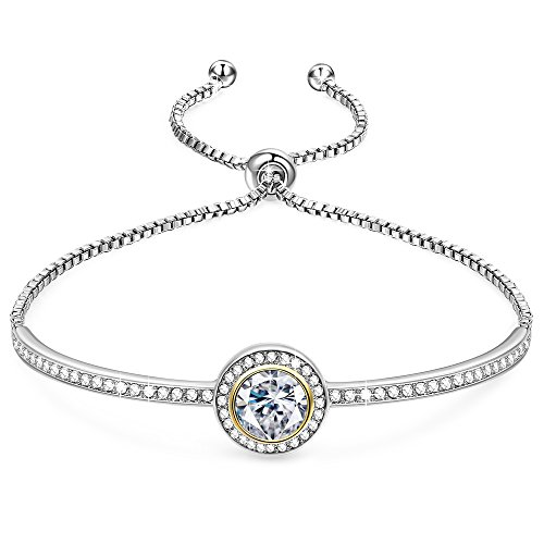 "GEORGE · SMITH Birthday Gifts""Endless Saturn""Classic Design Adjustable Women Bangle Bracelet Crystals from Swarovski Jewelry for Women -a Luxury Gift Box Included (Heart Shaped Bracelet Slide)"