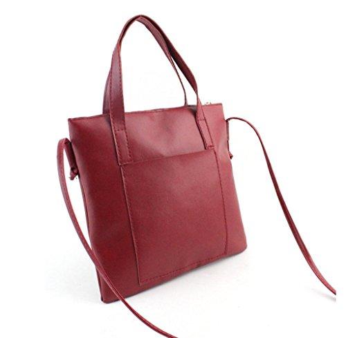 Tongshi Bolso de las mujeres de moda bolso de hombro Bolso grande de las señoras del totalizador Rojo