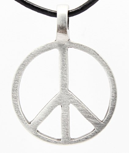 Pewter Classic Peace Sign Love Hippie Pendant on Leather Necklace (1960s Hippie Fashion)