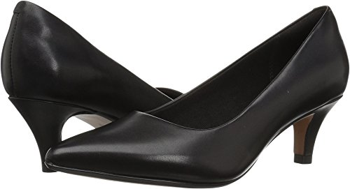 CLARKS Women's Linvale Jerica Pump, Black Leather, 085 M US