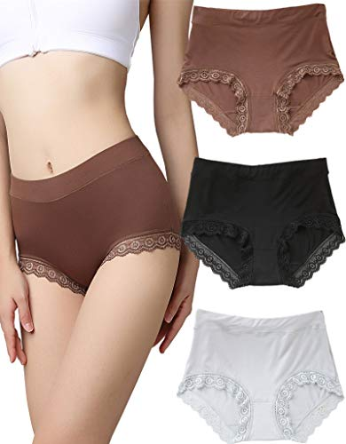Women's 3 Packs Lace Hipster Panties Seamless Mid-Rise Full Back Coverage Printed Panty Sexy Bikini Underwear (Large) (Printed Womens Underwear Boyshort)