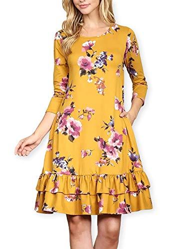 AOOKSMERY Elegant Women Floral Ruffled Hem Pocket 3/4 Sleeve A-Line Knee-Length Tunic Dress (Convertible Mini Ruffle Dress)