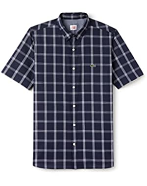 Men's Live Men's Blue Checked Shirt in Size 42-L Blue