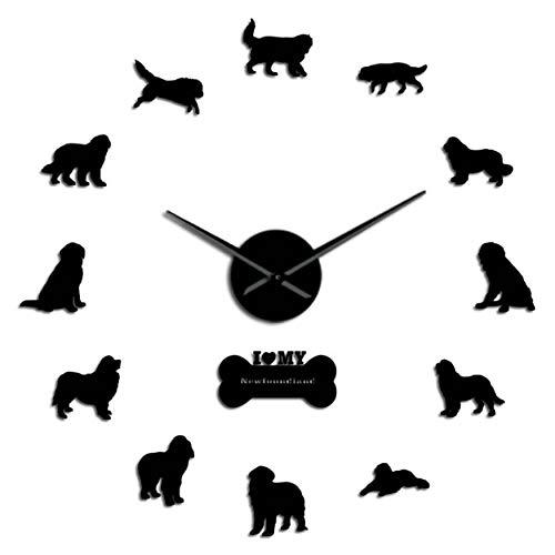 - MMLUCK Frameless Newfoundland Dog Breed 3D Mirror Effect DIY Wall Clock Puppy Acrylic Stickers Clock Veterinarian Hospital Gift(Black) 47inch