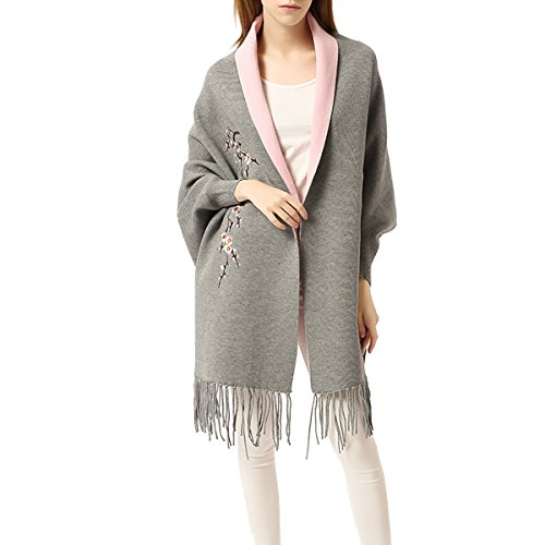 Women Embroidery Cloak Poncho Shawl Wrap Fashion Scarf Tassels Pashmina with Sleeve (Gray Pink)