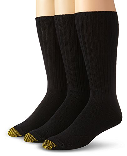 Gold Toe Men's Cotton Fluffies Casual Sock,Black, 3-Pack,  Sock Size 10-13,Shoe Size 6-12.5 (Socks Gold Cotton Toe)