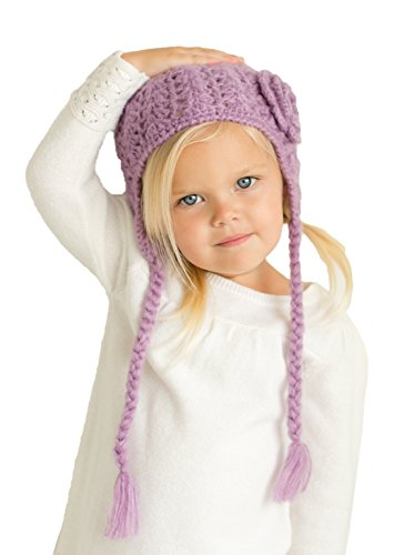 Huggalugs Girls Lilac Lacy Crocheted Earflap Hat With Flower S