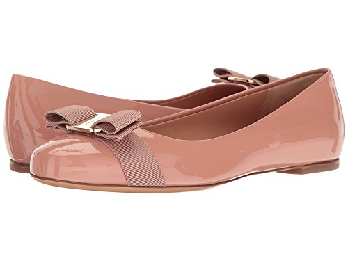 (SALVATORE FERRAGAMO Women's Varina Ballet Flat w/Bow New Blush Patent 6 B US)