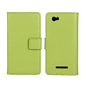 CASEPRADISE Cowskin Slim Wallet Card Pouch Flip Leather Etui Stand Case Cover For Sony Xperia M C1904 C1905 Green