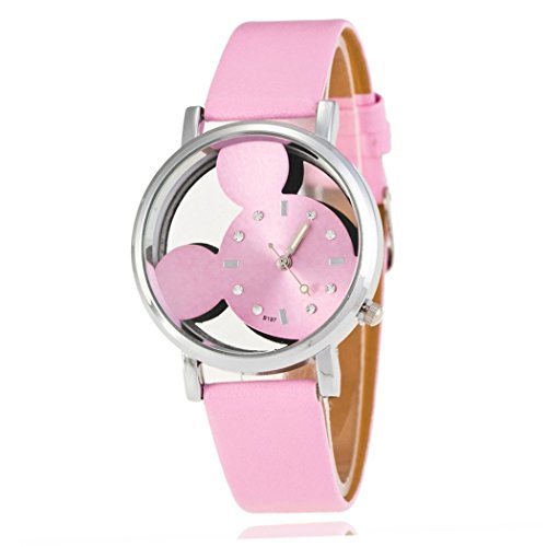 Mickey Mouse Pink Sihouette / Cut out on a Girls / Womens Pink Leather Wrist Watch Watch Mickey Mouse Christmas