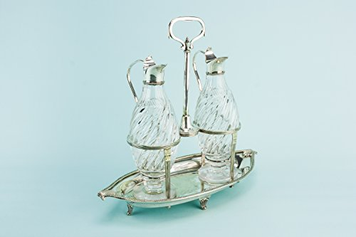 Mappin and Webb Condiment Set Oil Vinegar Pair Silver Plated Glass Aesthetic Movement Antique Late 19C English