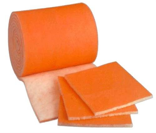 HVAC/Air Filter Media Roll, Orange/White MERV8 Polyester Media with a Heavy Dry Tackifier - 1'' x 25'' x 12'