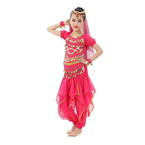 [Baby Dance Dresses, Inkach Kids Girls Belly Dance Chiffon Dresses Egypt Dance Clothing Outfit Costume (L, Hot] (Cute Costumes For Dance)