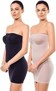 MD Women's Strapless Full Body Slip Shaper Seamless Smoother Tube Slip Under Dre