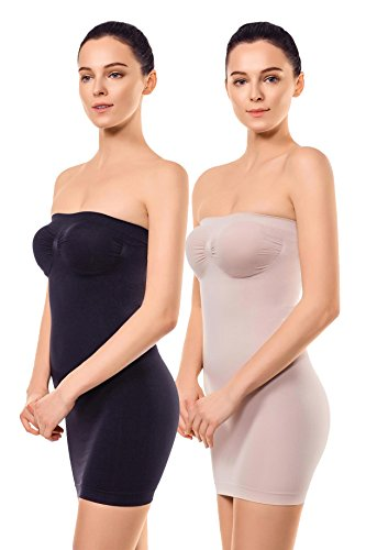 MD Women's Strapless Full Body Slip Shaper Seamless Smoother Tube Slip Under Dresses Black/NudeM