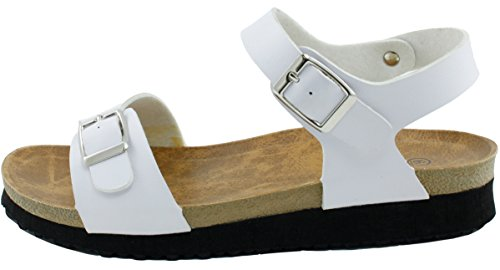 Cambridge Select Women Open Teen Double Strap Slingback Gesp Flatform Low Wedge Sandaal Wit