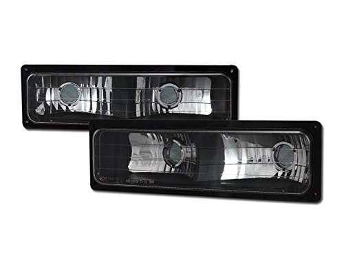 HS Power Black Clear Lens Bumper Signal Lights Parking Lamps DY For 88-00 Chevy GMC C10 CK C/K TRUCK/SUV