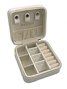 Iremico Small Portable PU Leather Travel Jewelry Box Display Organizer Storage Case for Earrings Necklace Rings (White)