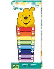 Lena 52950 - Xylofon Disney Winnie the Pooh, träxylofon med 8 metallljudplattor och 2 klubbar av trä, klockspel slaginstrument för barn från 24 månader, barninstrument i puuh björnform