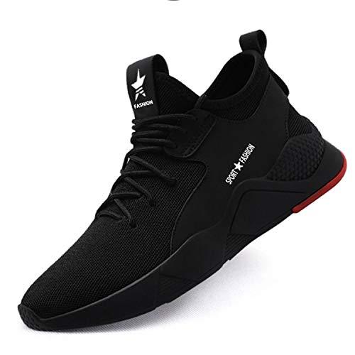 SUADEX Work Safety Shoes for Men Women Steel Toe Shoes Lightweight Breathable Punctutre Resistant Construction Shoes 677 Black Size 8-8.5 Women / 6.5-7 Men