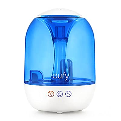 Eufy Humos Air 1.0, Ultrasonic Cool and Warm Mist Humidifier with Ultra-Quiet Operation, 1.0 Gallon / 4 Liter Capacity, Up to 24 Hours of Use, Auto Shut-Off, Single-Room / Studio / Office Use