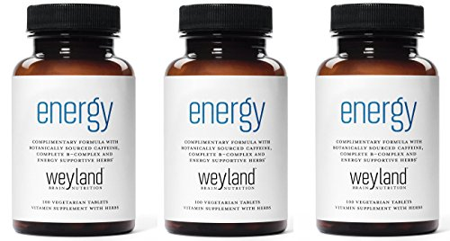 Weyland: Energy - Complementary Energy Formula w/Botanically Sourced Caffeine, Complete B-Complex and Energy Supportive Herbs (3 Bottles)