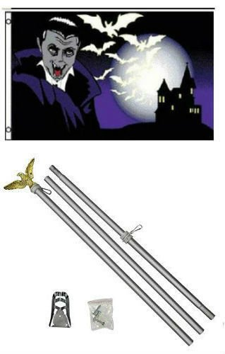 ALBATROS 3 ft x 5 ft Happy Halloween Vampire Bats Flag Aluminum with Pole Kit Set for Home and Parades, Official Party, All Weather Indoors Outdoors]()