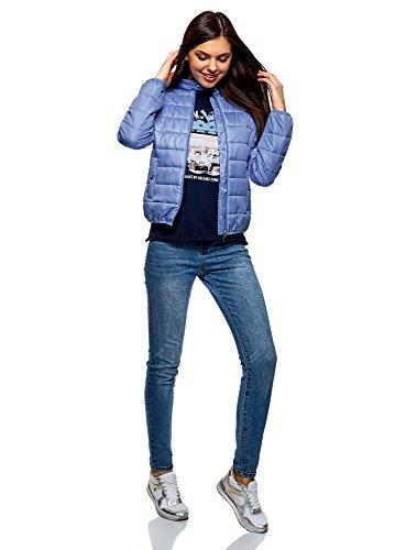 Azul con Chaqueta Cuello oodji 7500n Mujer Acolchada Ultra Mao ERIq0