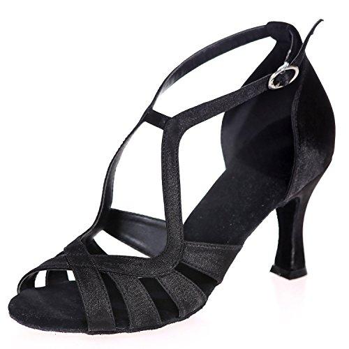 Toe A8349 Moderna Satin 5cm De Baile De Noche Peep Standard Heel Elobaby Heel Zapatos Mujer 7 Black De Latin Bv00xT