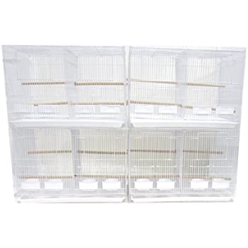 YML Medium Breeding Cages with Divider, Lot of 4, White