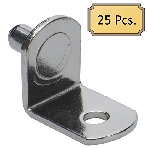 5mm Bracket Style Cabinet Shelf Support Pegs With Hole - Polished Nickel - Package of 25