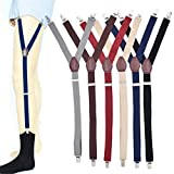 Mens Shirt Stays Suspenders,Y-Style Garter Shirt Stay Holder Straps Adjustable Elastic Non-Slip Locking Clamps for Military Police (Wine red)