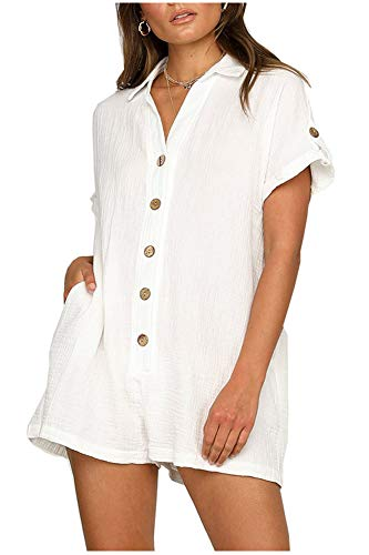 (Women's Casual Loose Shirt Jumpsuit, Front ButtonsV Collar Blouse Tops with Pockets White)