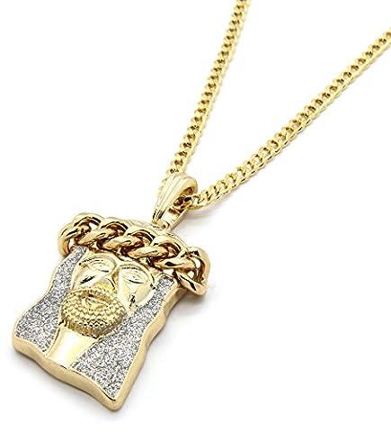 Mens Gold Tone Silver Color Stardust Cuban Crown Jesus Pendant 3mm 30