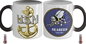 """Seabees Chief Petty Officer (CPO) Color Changing Coffee Mug with CPO Rank on Front and SEABEES """"Can Do"""" Sticker on Back from Gearbubble"""