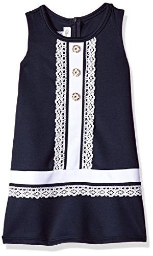 Nautical Sailor Navy White Dress - Bonnie Jean Girls' Big Sleevless Shift Dress, Navy with White Lace, 8