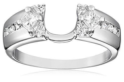 14k White Gold Round and Princess Diamond Solitaire Engagement Ring Enhancer (3/8 carat, H-I Color, I1-I2 Clarity), Size 6 (Diamond Cut Princess Guard Ring)