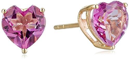 10k Yellow Gold Pink Topaz Heart Stud Earrings (Gold Pink Topaz Earrings)