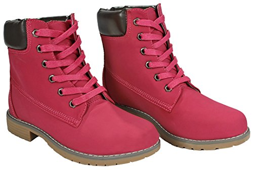 Fashion Up Combat Lace Collar Women Pink Work Padded Tone Zony Dk Military Ankle Two Boots BzwwX5q