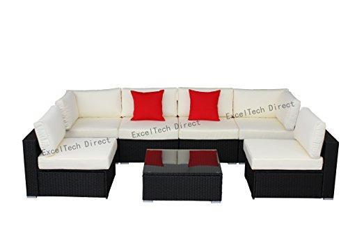 Do4U 7pcs Outdoor Patio Garden Rattan Wicker Sofa Set Sectional Furniture Set (Black-8004) (Outdoor On Furniture Sale Sectional)