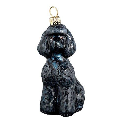 Joy to the World Collectibles European Blown Glass Pet Ornament, Toy Poodle, Black