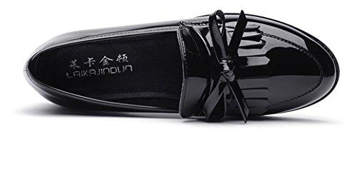 La primavera de estilo británico de las mujeres modernas con la borla de charol de tacón bajo Kurzschaft Casual Zapatos Mocasines color negro , talla 34