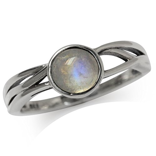 Natural Moonstone 925 Sterling Silver Solitaire Ring Size 10 (Moonstone Ring Size 10)