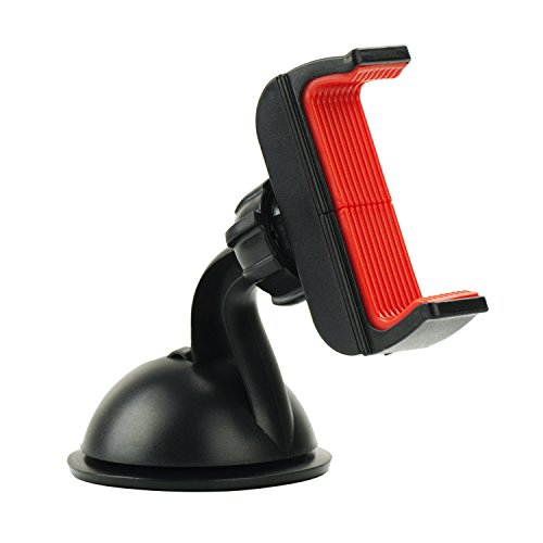 Ztechworld Universal Suction Cup Car Mount Phone Holder for iPhone 7 Plus 6S 6/ Samsung Galaxy S7 S6 Edge Note 3 4 5/ Android Phones and More, Sticky Silicone Gel, 360 Rotation, Red Clip