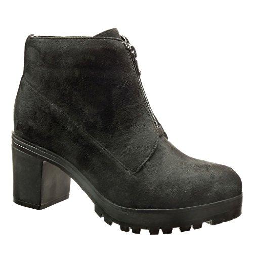 Angkorly - Zapatillas de Moda Botines zapatillas de plataforma Desert Boots mujer Talón Tacón ancho alto 7 CM - Negro