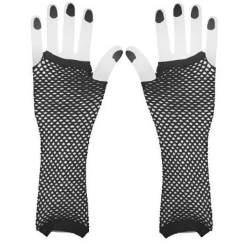 [Black Net Girls Diva Gloves] (Black Girls Gloves)