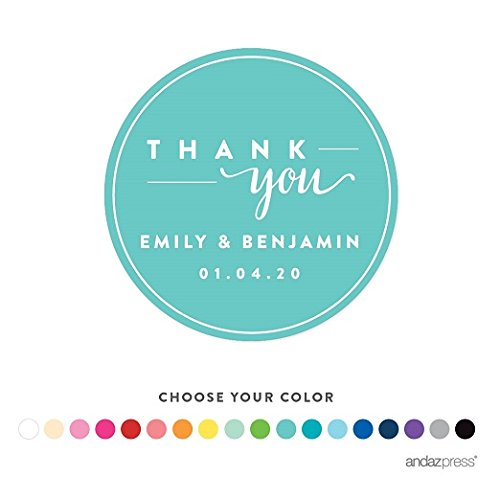 Andaz Press Personalized Circle Labels Stickers, Wedding, Chic Thank You, 40-Pack - Custom Made Any Name, For Birthday, Baby Bridal Shower, Baptism, Anniversary, Food and Bath Business Labels