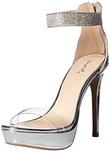 Qupid Women's Platform Sandal Heeled, Silver, 6 M US