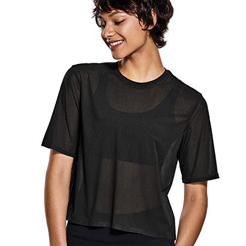 CRZ YOGA Women's Mesh Short Sleeve Moisture Wicking See Through Bonded Hem Cropped Sport Shirts Black-R753 M(8/10) (Best See Through Shirts)